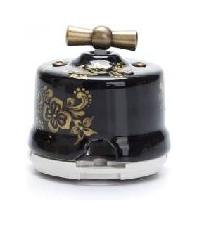Salvador Выключатель поворотный 2-х позиц. для наружного монтажа, проходной, чёрный с золотом, OP11BL.GD