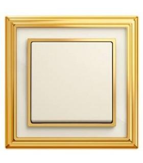 Выключатель ABB ДИНАСТИЯ латунь полированная/белое стекло