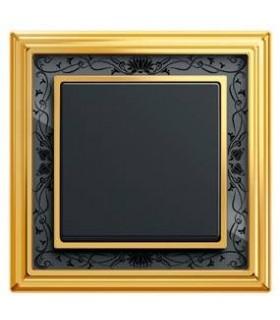 Выключатель ABB ДИНАСТИЯ латунь полированная/чёрная роспись
