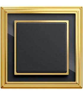 Выключатель ABB ДИНАСТИЯ латунь полированная/чёрное стекло