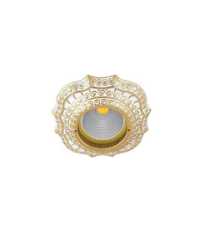 Скругленный точечный светильник из латуни, FEDE Lucca золото с белой патиной