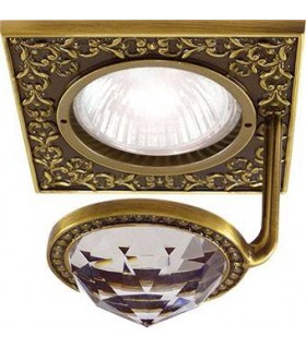 Квадратный точечный светильник с крупным кристаллом FEDE CRYSTAL DE LUXE патина