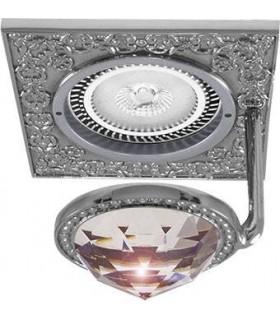 Квадратный точечный светильник с крупным кристаллом FEDE CRYSTAL DE LUXE блестящий хром