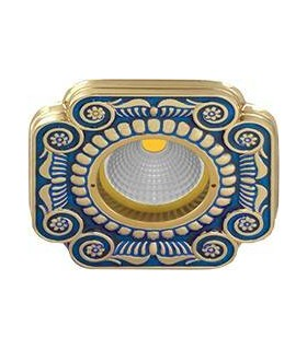 Квадратный точечный светильник из латуни, FEDE SMALTO ITALIANO FIRENZE BLUE SAPPHIRE