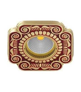 Квадратный точечный светильник из латуни, FEDE SMALTO ITALIANO FIRENZE RUBY RED