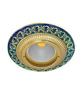 Круглый точечный светильник из латуни, FEDE SMALTO ITALIANO SAN SEBASTIAN BLUE SAPPHIRE