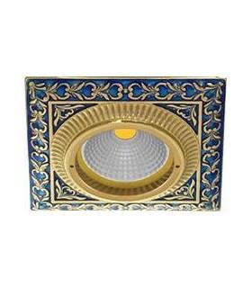 Квадратный точечный светильник из латуни, FEDE SMALTO ITALIANO SAN SEBASTIAN BLUE SAPPHIRE