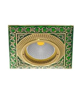 Квадратный точечный светильник из латуни, FEDE SMALTO ITALIANO SAN SEBASTIAN EMERALD GREEN