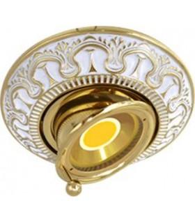 Круглый точечный поворотный светильник CORDOBA из латуни, золото с белой патиной