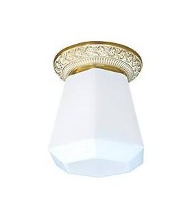 Накладной точечный светильник из латуни с матовым плафоном FEDE BILBAO I DECO, золото с белой патиной