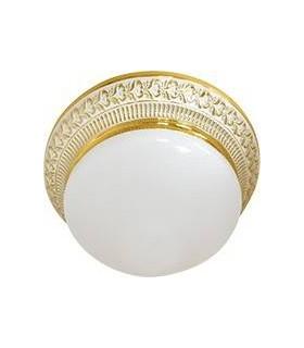 Накладной точечный светильник из латуни с матовым плафоном (на 2 лампы) FEDE BILBAO II, золото с белой патиной
