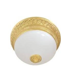 Накладной светильник FEDE BILBAO II DECO из латуни с матовым плафоном (на 2 лампы), блестящее золото