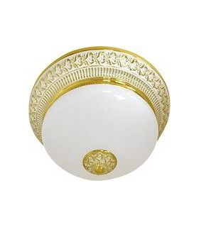 Накладной светильник FEDE BILBAO II DECO из латуни с матовым плафоном (на 2 лампы), золото с белой патиной