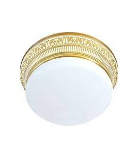 Накладной точечный светильник из латуни с матовым плафоном (на 3 лампы) FEDE EMPORIO III, золото с белой патиной