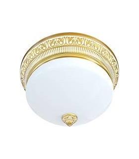 Накладной точечный светильник из латуни с матовым плафоном (на 3 лампы) FEDE EMPORIO III DECO, золото с белой патиной