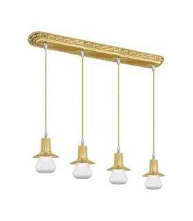 Подвесной потолочный светильник из латуни FEDE MILANO IV GLASS (четверной)