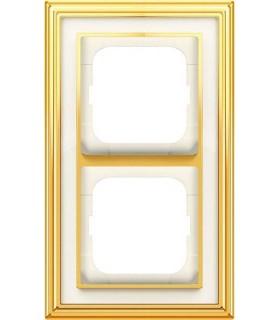 Рамка на 2 поста, ABB серия Династия, Латунь полированная, белое стекло