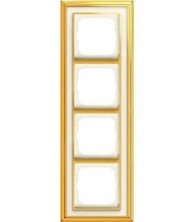 Рамка 4-постовая, серия, Династия, Латунь полированная, белое стекло