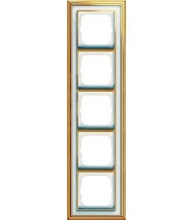 Рамка 5-постовая, серия, Династия, Латунь полированная, белое стекло