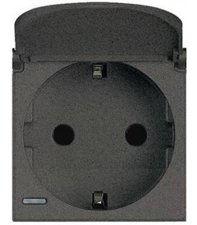 BTicino Розетка с крышкой, заземлением, защитными шторками и безвинтовыми клеммами, 16А|250В, цвет - антрацит