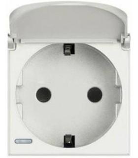 BTicino Розетка с крышкой, заземлением, защитными шторками и безвинтовыми клеммами, 16А|250В, цвет - белый