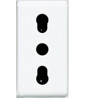 BTicino Розетка с защитными шторками, 1 модуль, под обычную (не евро) вилку, без заземления, винтовые клеммы, 16А, цвет - белый