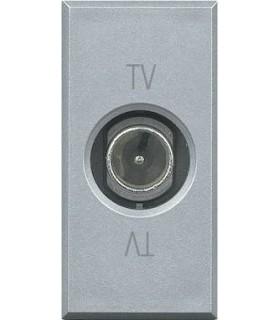 Проходная ТВ розетка BTicino Axolute (1 модуль), штыревой разъем, алюминий