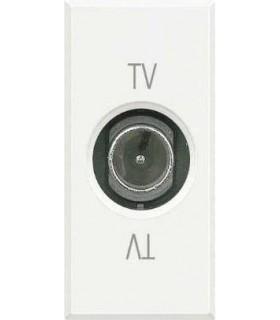 BTicino Розетка ТВ проходная, цвет - белый, 1 модуль