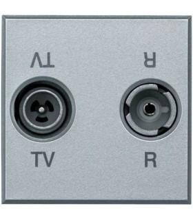 BTicino Розетка ТВ-радио оконечная, цвет - алюминий, 2 модуля