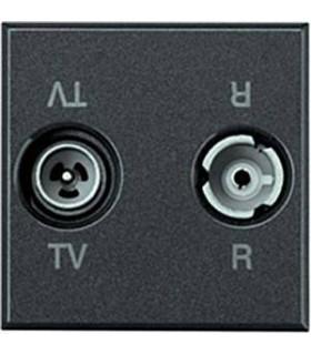 Двойная коаксиальная оконечная розетка для TV и радиосигнала BTicino Axolute, (2 модуля), антрацит