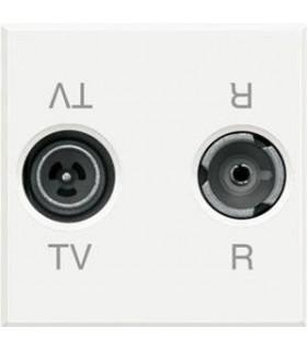 Двойная коаксиальная оконечная розетка для TV и радиосигнала BTicino Axolute, (2 модуля), белый