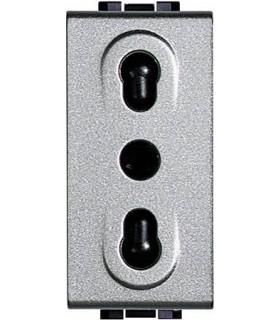 Розетка 2П + заземление с защитными шторками, Bticino LivingLight (1 модуль), алюминий