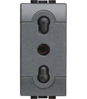 Розетка 2П + заземление с защитными шторками, Bticino LivingLight (1 модуль), антрацит