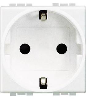Розетка 2П + заземление (боков.) с защитными шторками, Bticino LivingLight (2 модуля), белый