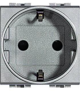 Розетка 2П + заземление (боков.) с защитными шторками, Bticino LivingLight (2 модуля), алюминий