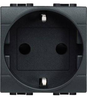Розетка 2П + заземление (боков.) с защитными шторками, Bticino LivingLight (2 модуля), антрацит