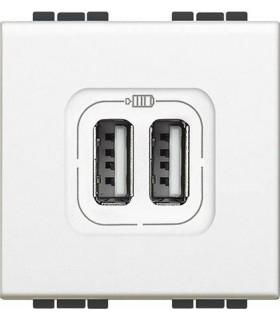 Розетка 2хUSB для зарядки электронных устройств 5 В 1500 мА, (2 модуля) Bticino LivingLight, белый