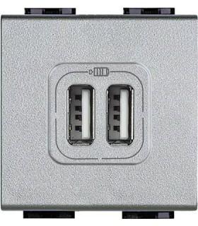 Розетка 2хUSB для зарядки электронных устройств 5 В 1500 мА, (2 модуля) Bticino LivingLight, алюминий