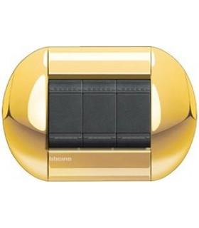 Выключатель Bticino Living-Light рамка овал Золото-OC