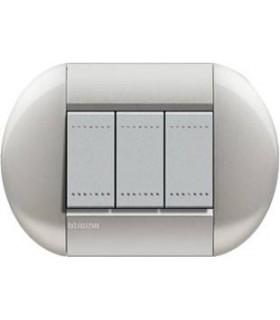 Выключатель Bticino Living-Light рамка овал Алюминий-TE