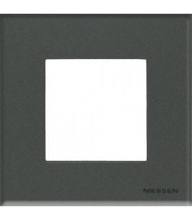 Рамка на 1 пост (2 модуля) ABB Niessen Zenit, стекло графит