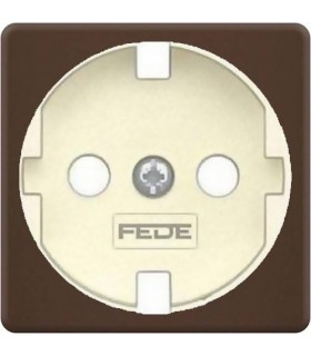 Обрамление розетки 2к+з FEDE, moka + beige