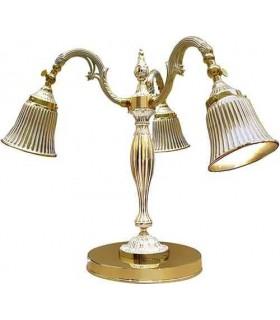 Настольная лампа из латуни FEDE CATANIA I, gold white patina