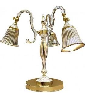 Настольная лампа из латуни FEDE CATANIA II, gold white patina