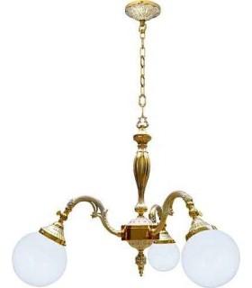 Потолочная люстра из латуни с плафоном FEDE MILAZZO I, gold white patina