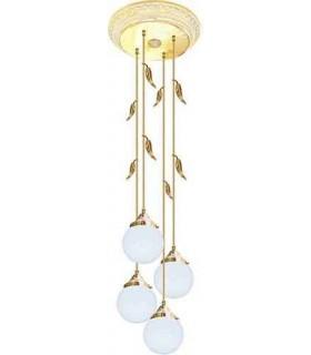 Потолочная люстра из латуни с плафоном (FD1172) FEDE PALERMO I, gold white patina