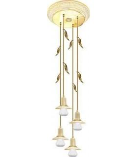 Потолочная люстра из латуни с плафоном (FD10170) FEDE PALERMO I, gold white patina