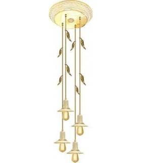 Потолочная люстра из латуни с ретро лампой EDISON (FDRETRO-E2740) FEDE PALERMO I, gold white patina