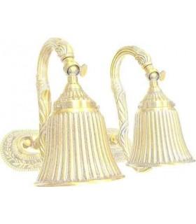 Двойной настенный светильник из латуни FEDE SAN MARINO II, gold white patina