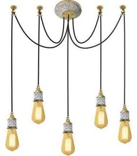 Потолочная люстра из латуни FEDE GENOVA I, gold white patina